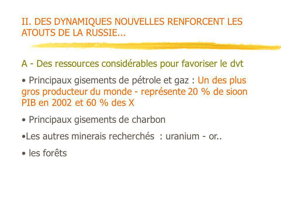 II. DES DYNAMIQUES NOUVELLES RENFORCENT LES ATOUTS DE LA RUSSIE... A - Des ressources considérables pour favoriser le dvt Principaux gisements de pétr