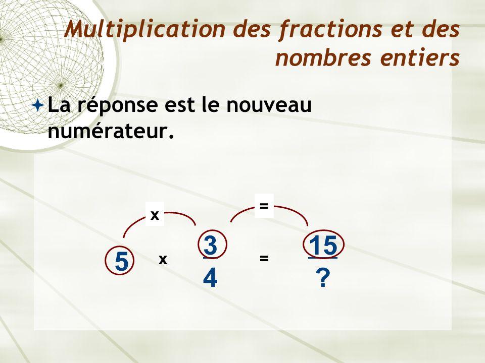 La réponse est le nouveau numérateur. Multiplication des fractions et des nombres entiers 5 x 3434 15 ? = x =