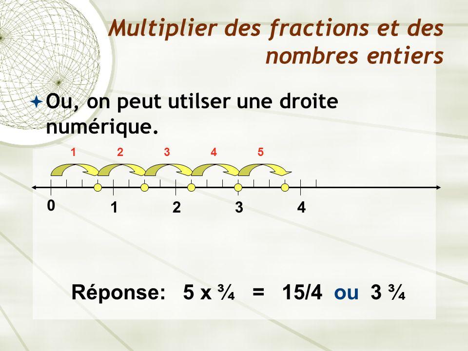 Ou, on peut utilser une droite numérique. Multiplier des fractions et des nombres entiers 0 1234 12345 Réponse: 5 x ¾ = 15/4 ou 3 ¾