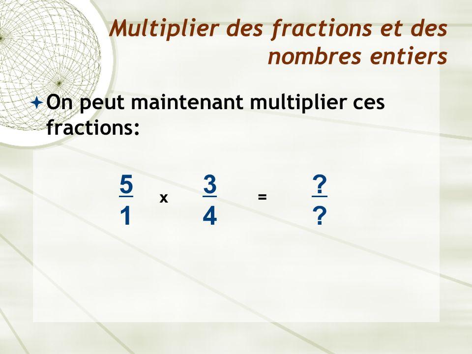 On peut maintenant multiplier ces fractions: Multiplier des fractions et des nombres entiers x 3434 ???? = 5151