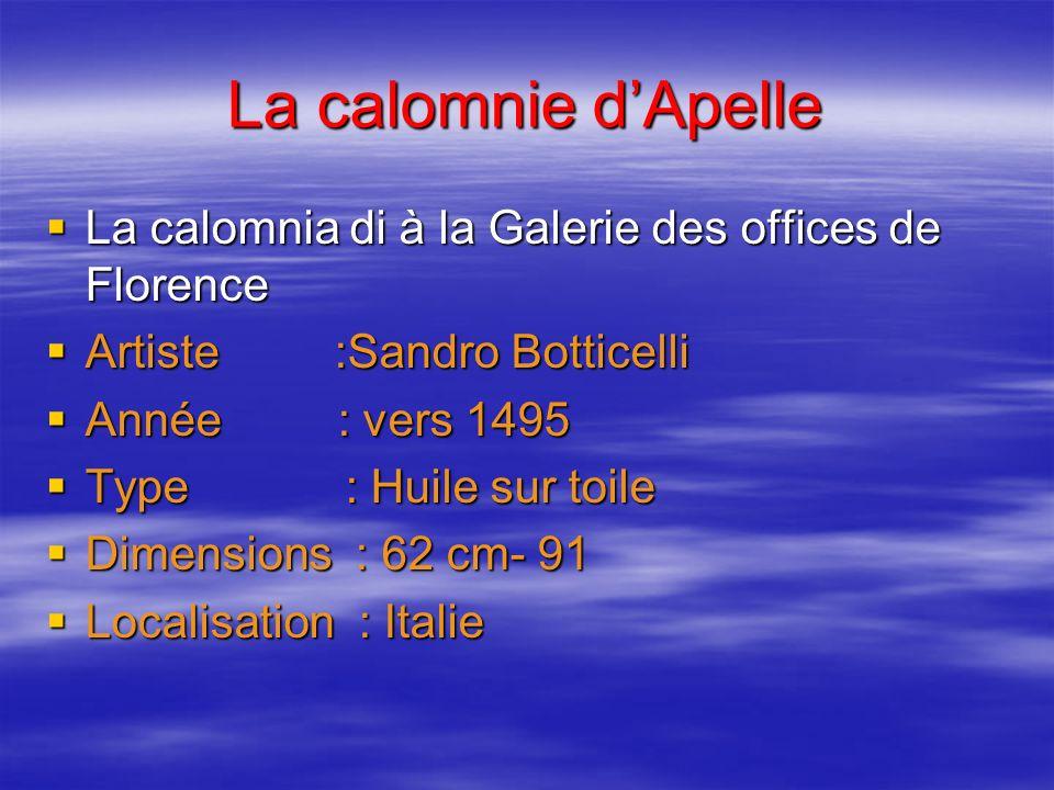 La calomnie dApelle La calomnia di à la Galerie des offices de Florence La calomnia di à la Galerie des offices de Florence Artiste :Sandro Botticelli