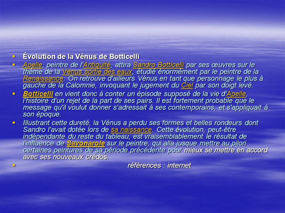 Évolution de la Vénus de Botticelli Évolution de la Vénus de Botticelli Apelle, peintre de l'Antiquité, attira Sandro Botticelli par ses œuvres sur le