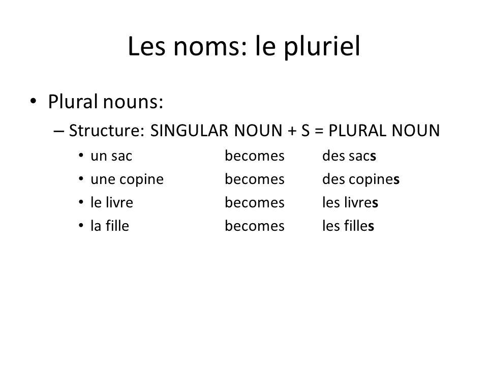 Les noms: le pluriel Plural nouns: – Structure: SINGULAR NOUN + S = PLURAL NOUN un sacbecomesdes sacs une copinebecomesdes copines le livrebecomesles