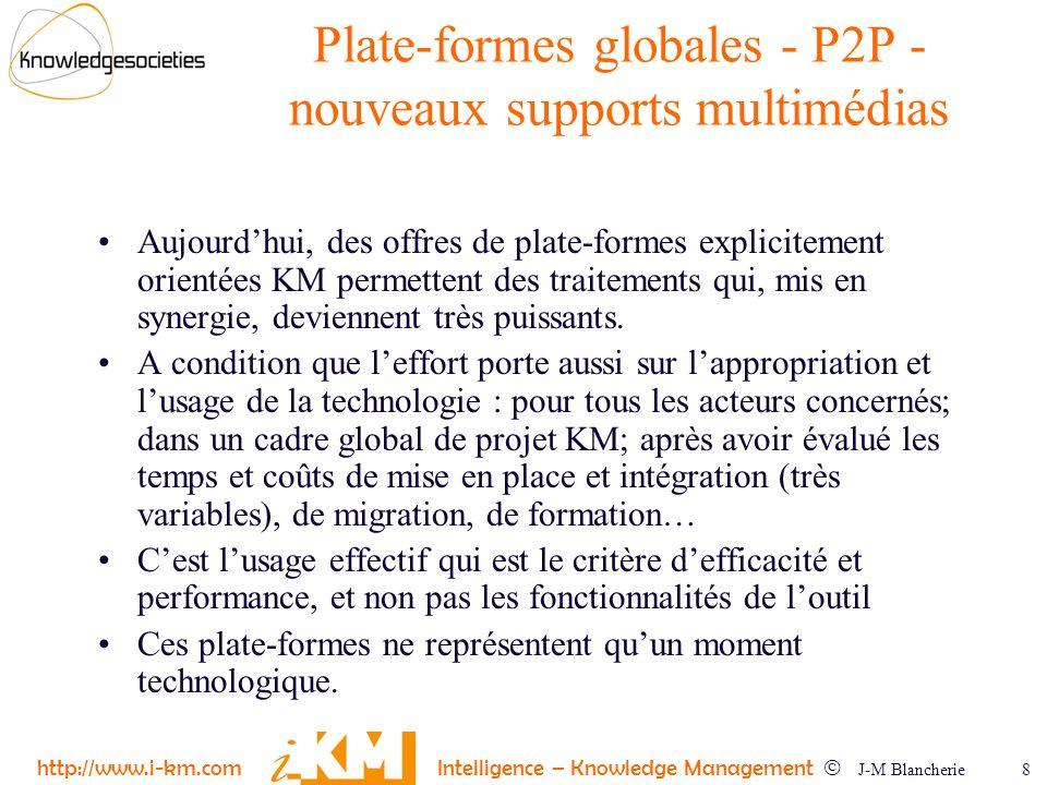 http://www.i-km.com Intelligence – Knowledge Management J-M Blancherie 8 Plate-formes globales - P2P - nouveaux supports multimédias Aujourdhui, des o