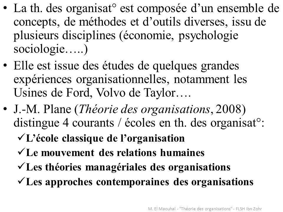 La th. des organisat° est composée dun ensemble de concepts, de méthodes et doutils diverses, issu de plusieurs disciplines (économie, psychologie soc