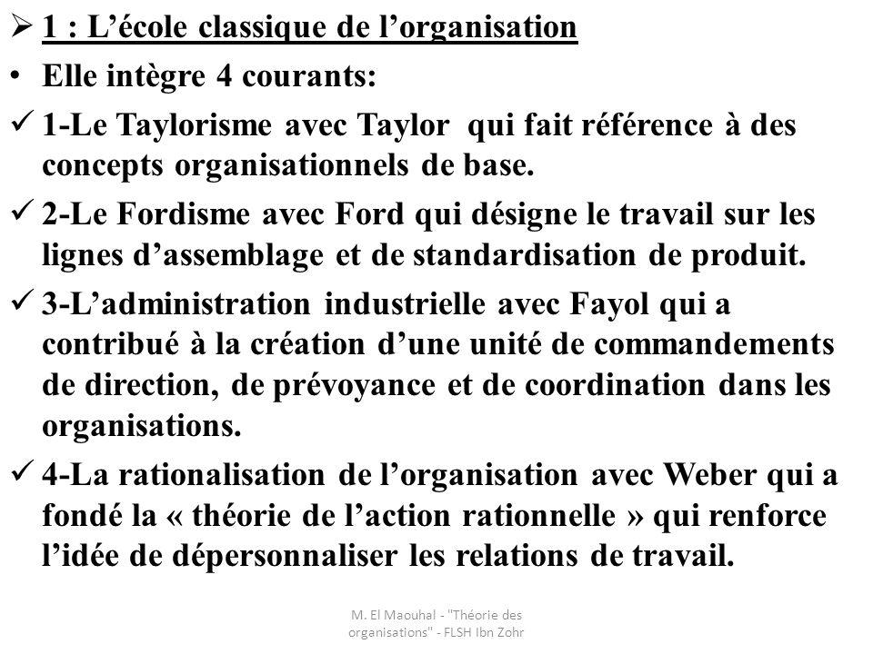 1 : Lécole classique de lorganisation Elle intègre 4 courants: 1-Le Taylorisme avec Taylor qui fait référence à des concepts organisationnels de base.