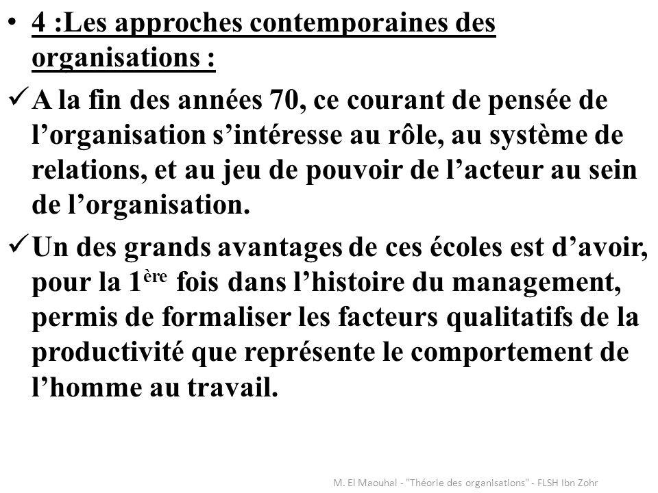 4 :Les approches contemporaines des organisations : A la fin des années 70, ce courant de pensée de lorganisation sintéresse au rôle, au système de re