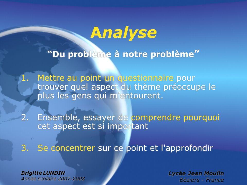 Brigitte LUNDIN Année scolaire 2007-2008 Lycée Jean Moulin Béziers - France Analyse Du problème à notre problème 1.Mettre au point un questionnaire po