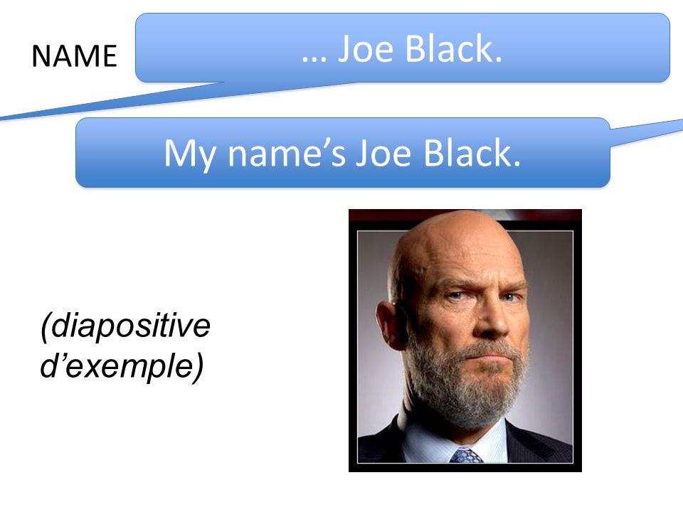NAME … Joe Black. My names Joe Black. (diapositive dexemple)