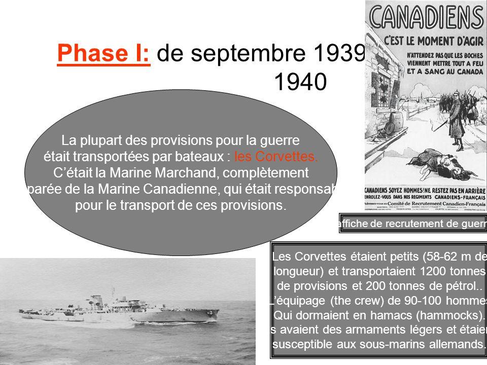 Phase I: de septembre 1939 à juin 1940 La plupart des provisions pour la guerre était transportées par bateaux : les Corvettes. Cétait la Marine March
