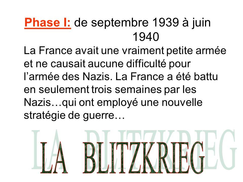 Phase I: de septembre 1939 à juin 1940 La France avait une vraiment petite armée et ne causait aucune difficulté pour larmée des Nazis. La France a ét