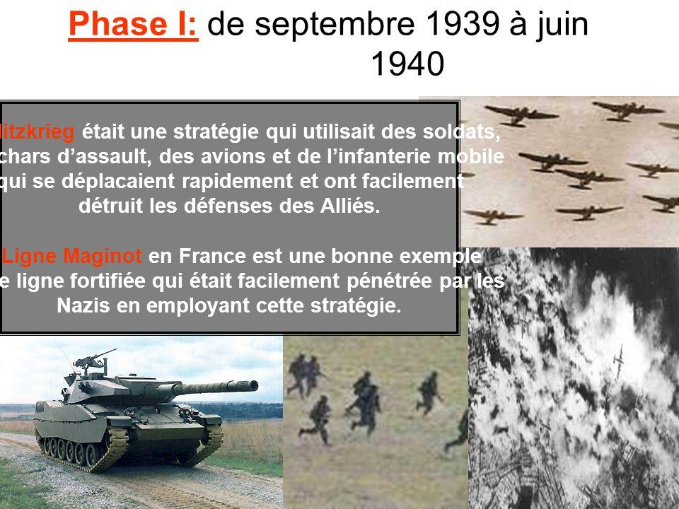 Phase I: de septembre 1939 à juin 1940 La Blitzkrieg était une stratégie qui utilisait des soldats, des chars dassault, des avions et de linfanterie m