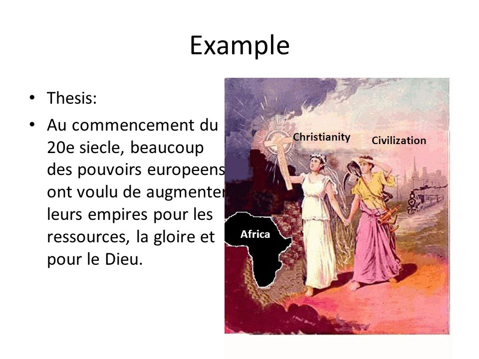 Example Thesis: Au commencement du 20e siecle, beaucoup des pouvoirs europeens ont voulu de augmenter leurs empires pour les ressources, la gloire et