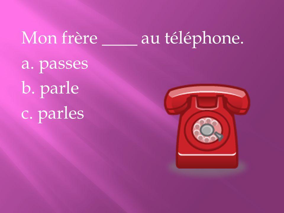 Mon frère ____ au téléphone. a. passes b. parle c. parles
