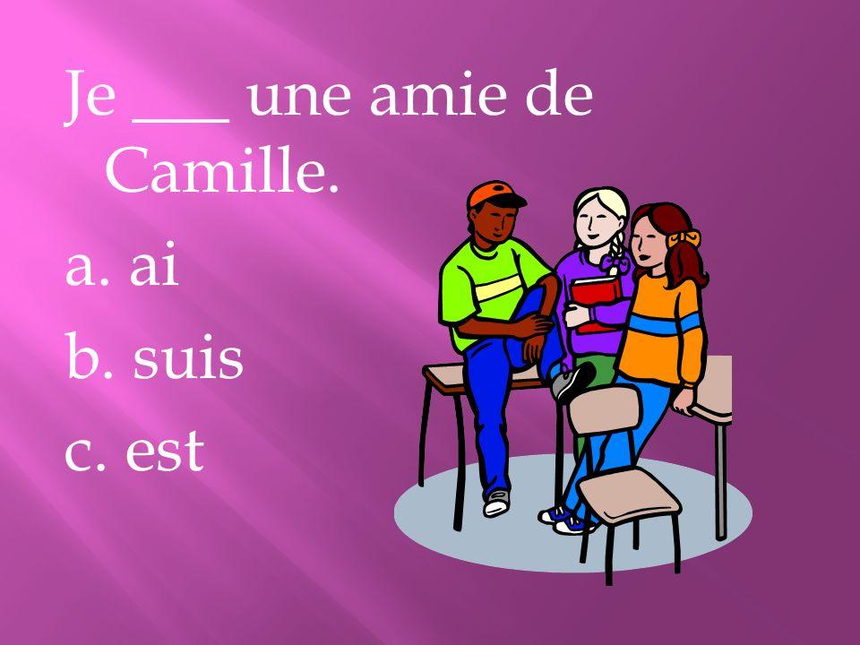 Je ___ une amie de Camille. a. ai b. suis c. est