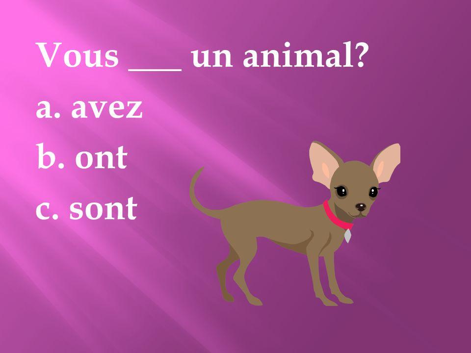 Vous ___ un animal? a. avez b. ont c. sont