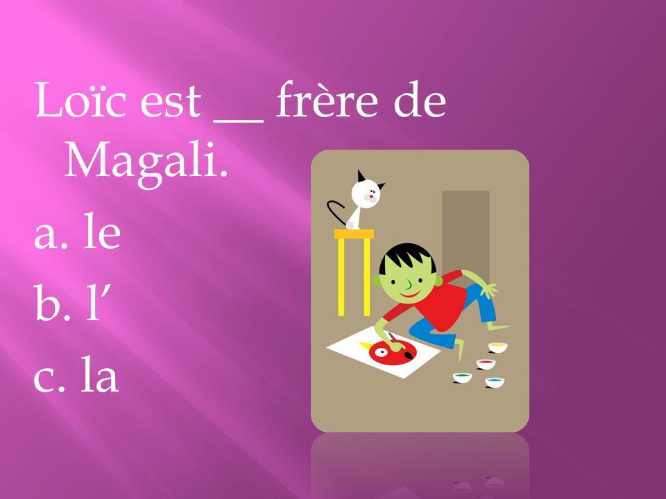 Loïc est __ frère de Magali. a. le b. l c. la