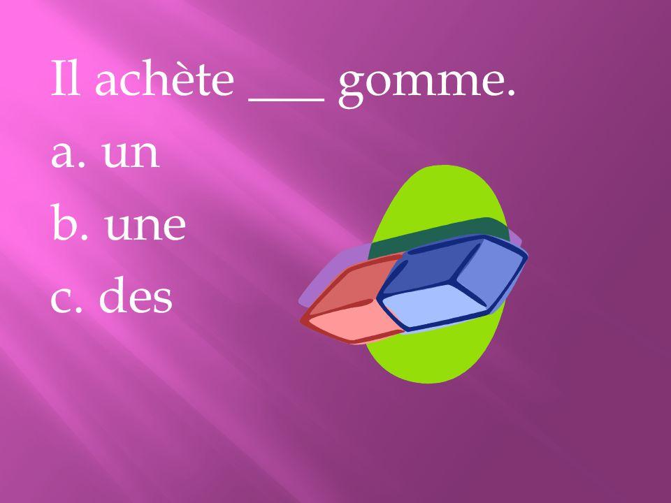 Il achète ___ gomme. a. un b. une c. des