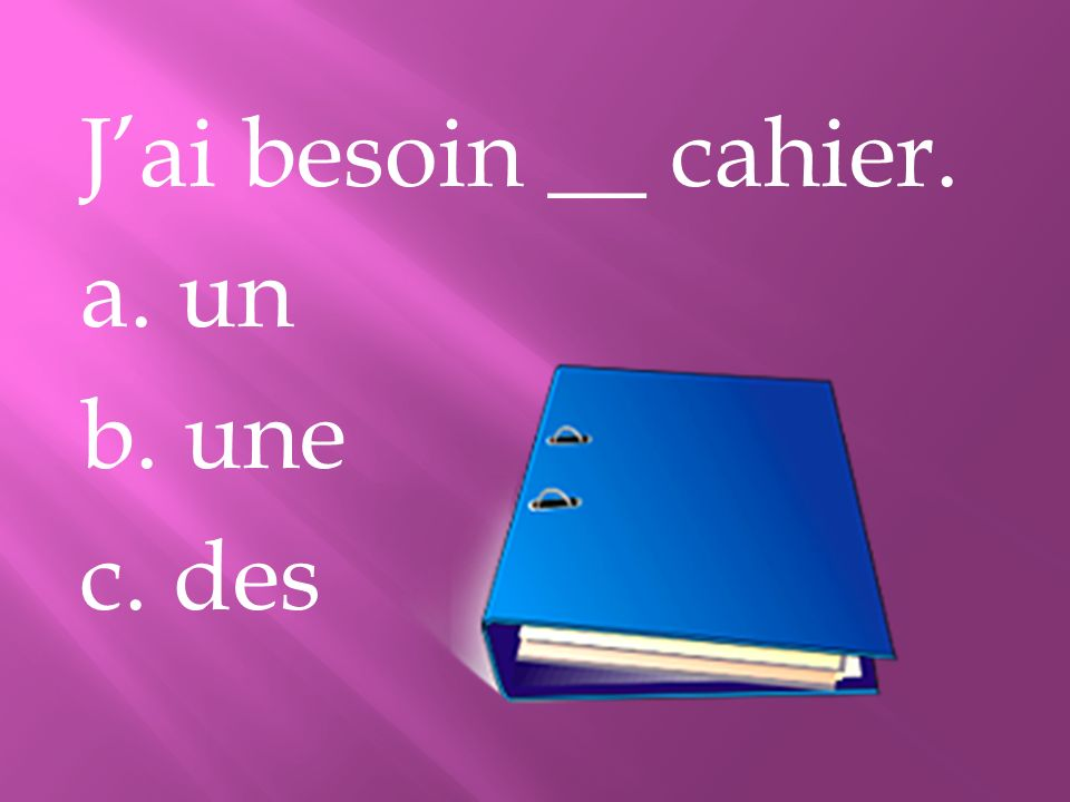 Jai besoin __ cahier. a. un b. une c. des