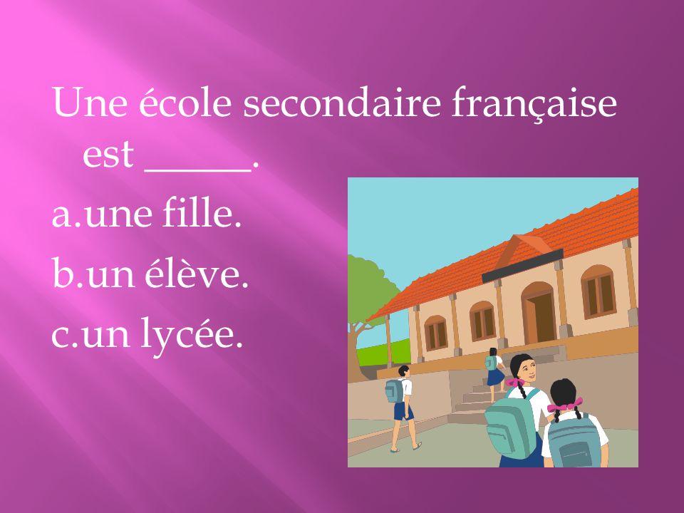 Une école secondaire française est _____. a.une fille. b.un élève. c.un lycée.