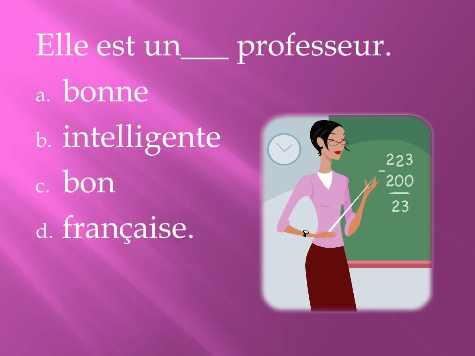 Elle est un___ professeur. a. bonne b. intelligente c. bon d. française.