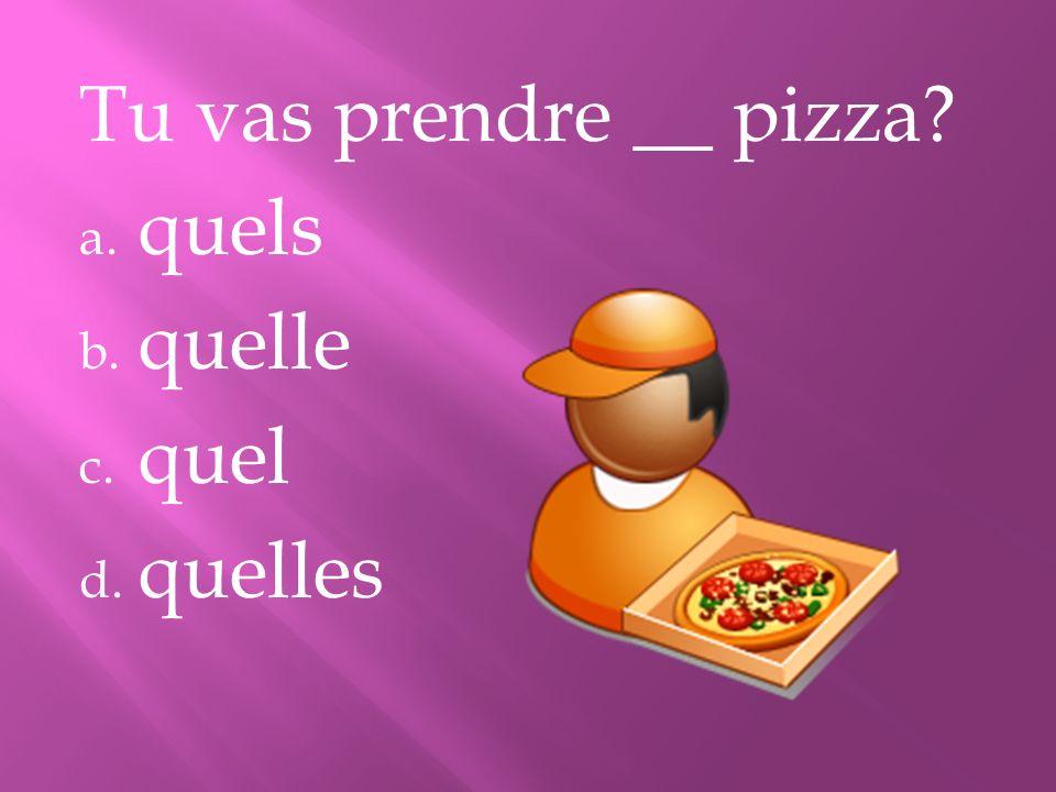 Tu vas prendre __ pizza? a. quels b. quelle c. quel d. quelles