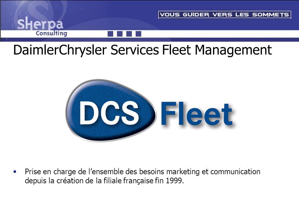 DaimlerChrysler Services Fleet Management Prise en charge de lensemble des besoins marketing et communication depuis la création de la filiale françai