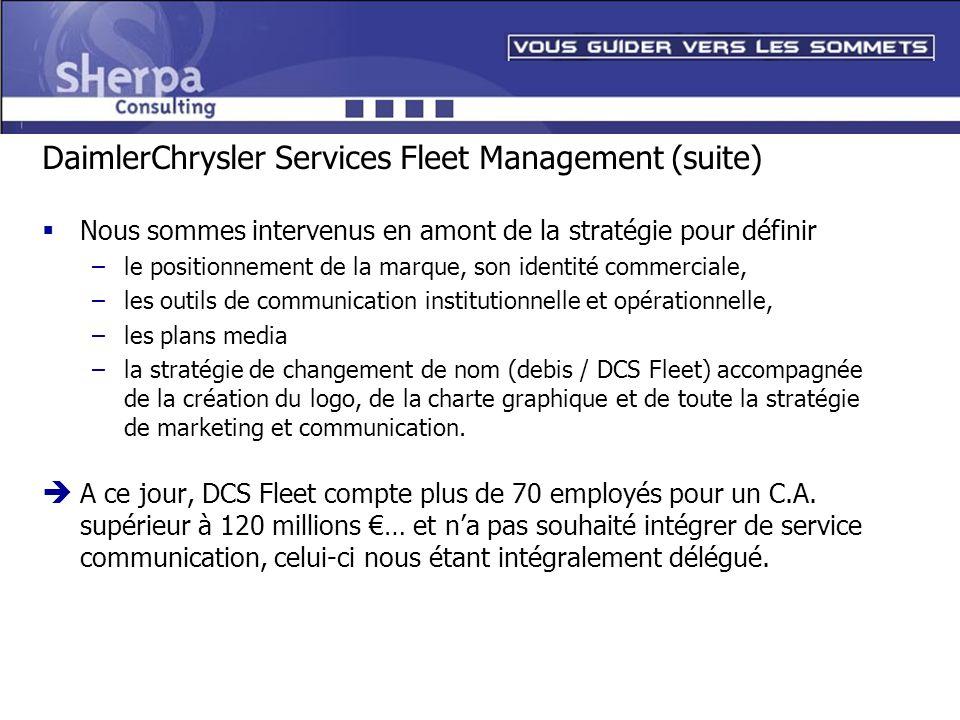 DaimlerChrysler Services Fleet Management (suite) Nous sommes intervenus en amont de la stratégie pour définir –le positionnement de la marque, son id