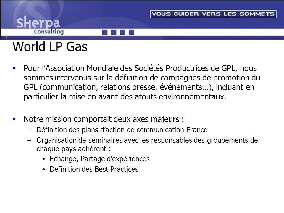 World LP Gas Pour lAssociation Mondiale des Sociétés Productrices de GPL, nous sommes intervenus sur la définition de campagnes de promotion du GPL (c