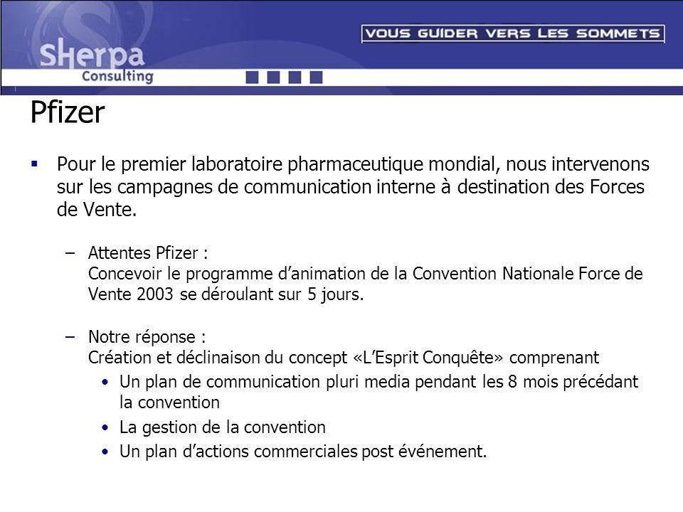 Pfizer Pour le premier laboratoire pharmaceutique mondial, nous intervenons sur les campagnes de communication interne à destination des Forces de Ven
