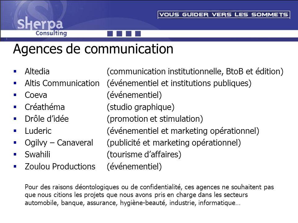 Agences de communication Altedia(communication institutionnelle, BtoB et édition) Altis Communication (événementiel et institutions publiques) Coeva (