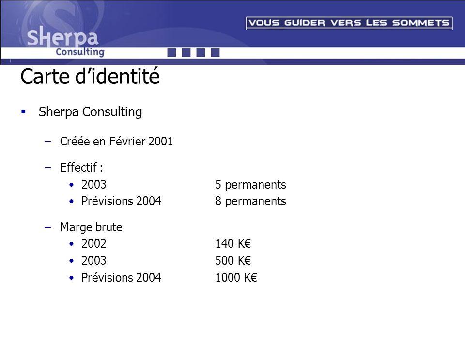 Carte didentité Sherpa Consulting –Créée en Février 2001 –Effectif : 20035 permanents Prévisions 20048 permanents –Marge brute 2002140 K 2003500 K Pré