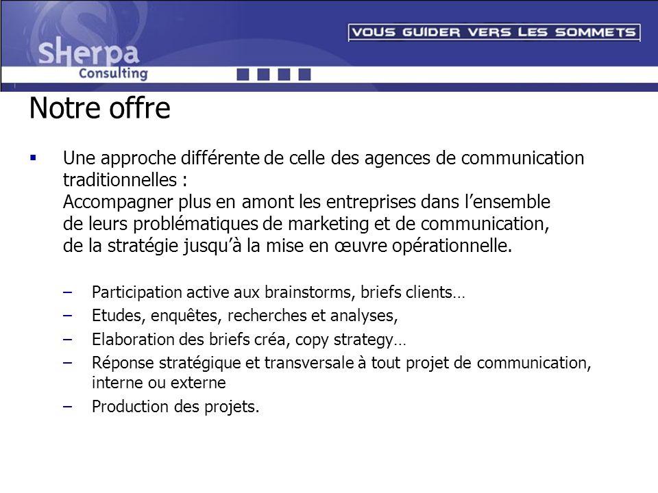 Notre offre Une approche différente de celle des agences de communication traditionnelles : Accompagner plus en amont les entreprises dans lensemble d