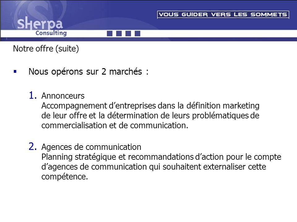 Notre offre (suite) Nous opérons sur 2 marchés : 1. Annonceurs Accompagnement dentreprises dans la définition marketing de leur offre et la déterminat