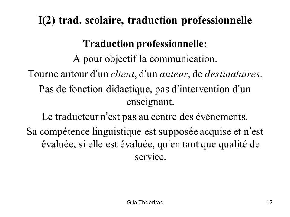 Gile Theortrad12 I(2) trad. scolaire, traduction professionnelle Traduction professionnelle: A pour objectif la communication. Tourne autour dun clien