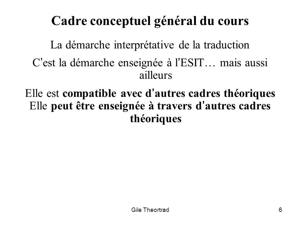Gile Theortrad6 Cadre conceptuel général du cours La démarche interprétative de la traduction Cest la démarche enseignée à lESIT… mais aussi ailleurs