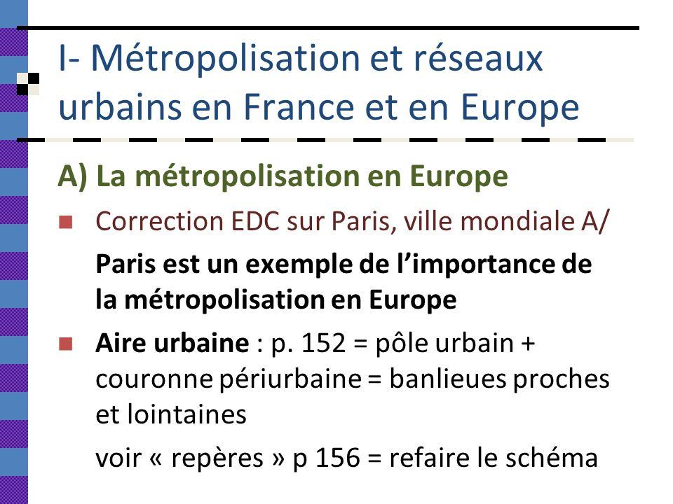 I- Métropolisation et réseaux urbains en France et en Europe A) La métropolisation en Europe Correction EDC sur Paris, ville mondiale A/ Paris est un