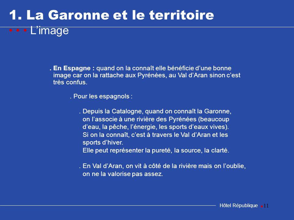 11 1. La Garonne et le territoire Limage Hôtel République. En Espagne : quand on la connaît elle bénéficie dune bonne image car on la rattache aux Pyr