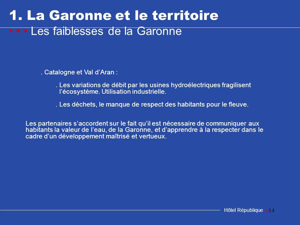 14 1. La Garonne et le territoire Les faiblesses de la Garonne Hôtel République. Catalogne et Val dAran :. Les variations de débit par les usines hydr
