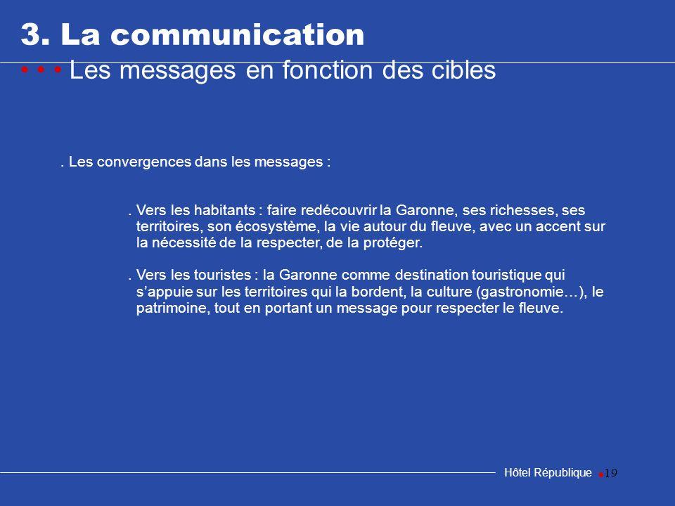 19 3. La communication Les messages en fonction des cibles Hôtel République. Les convergences dans les messages :. Vers les habitants : faire redécouv
