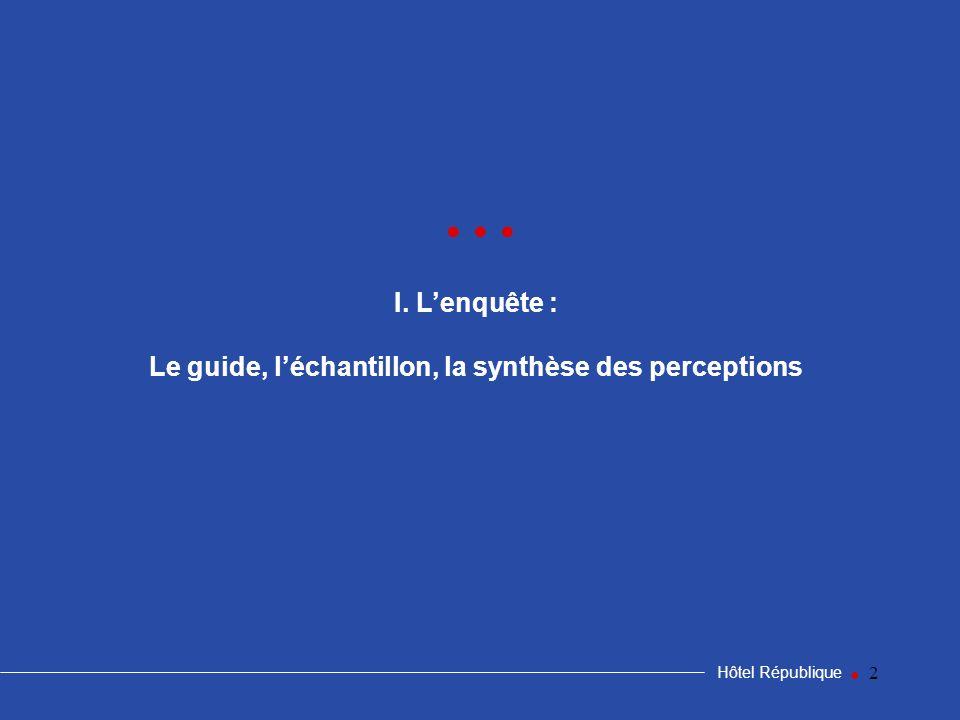 2 I. Lenquête : Le guide, léchantillon, la synthèse des perceptions Hôtel République