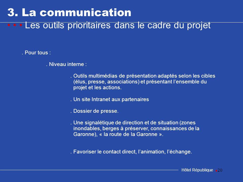 20 3. La communication Les outils prioritaires dans le cadre du projet Hôtel République. Pour tous :. Niveau interne :. Outils multimédias de présenta