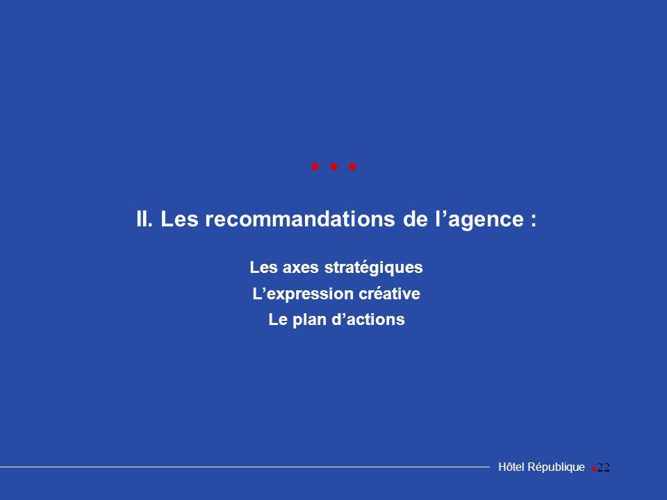 22 II. Les recommandations de lagence : Les axes stratégiques Lexpression créative Le plan dactions Hôtel République