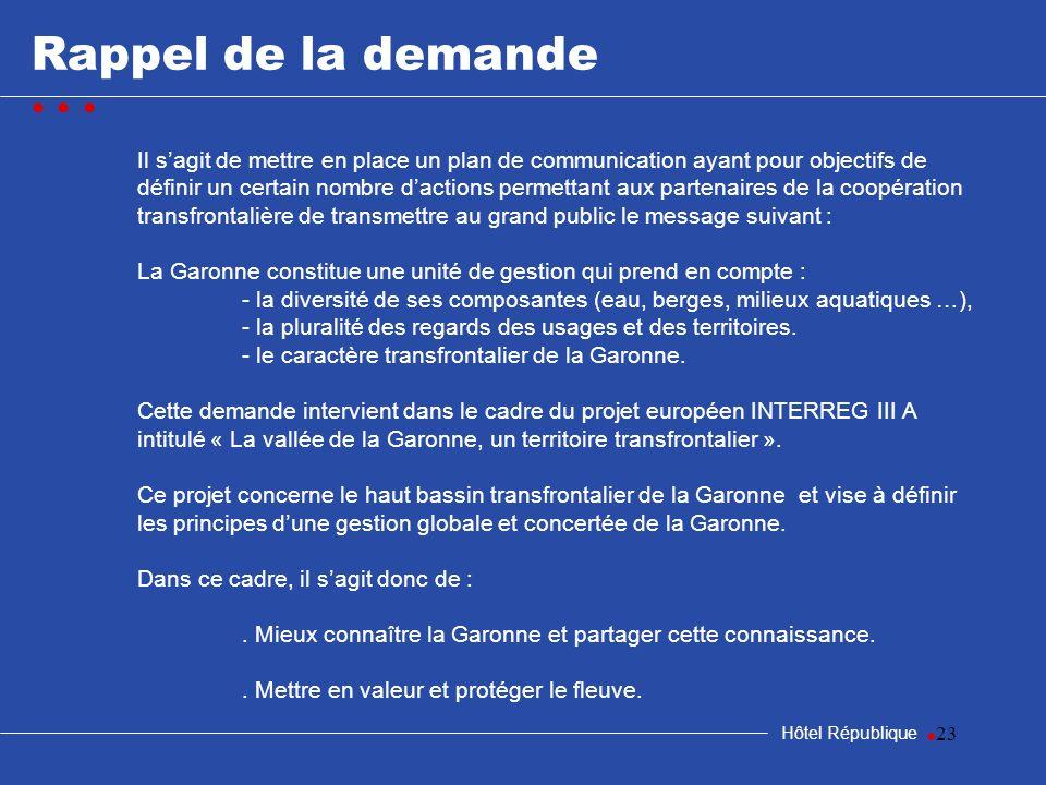 23 Rappel de la demande Hôtel République Il sagit de mettre en place un plan de communication ayant pour objectifs de définir un certain nombre dactio