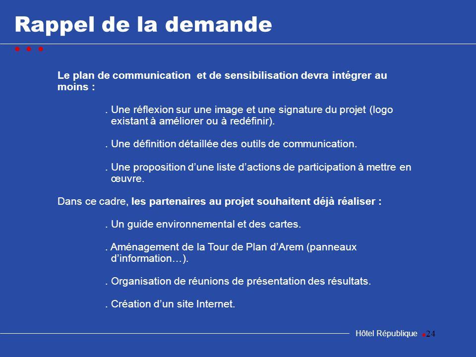24 Rappel de la demande Hôtel République Le plan de communication et de sensibilisation devra intégrer au moins :. Une réflexion sur une image et une