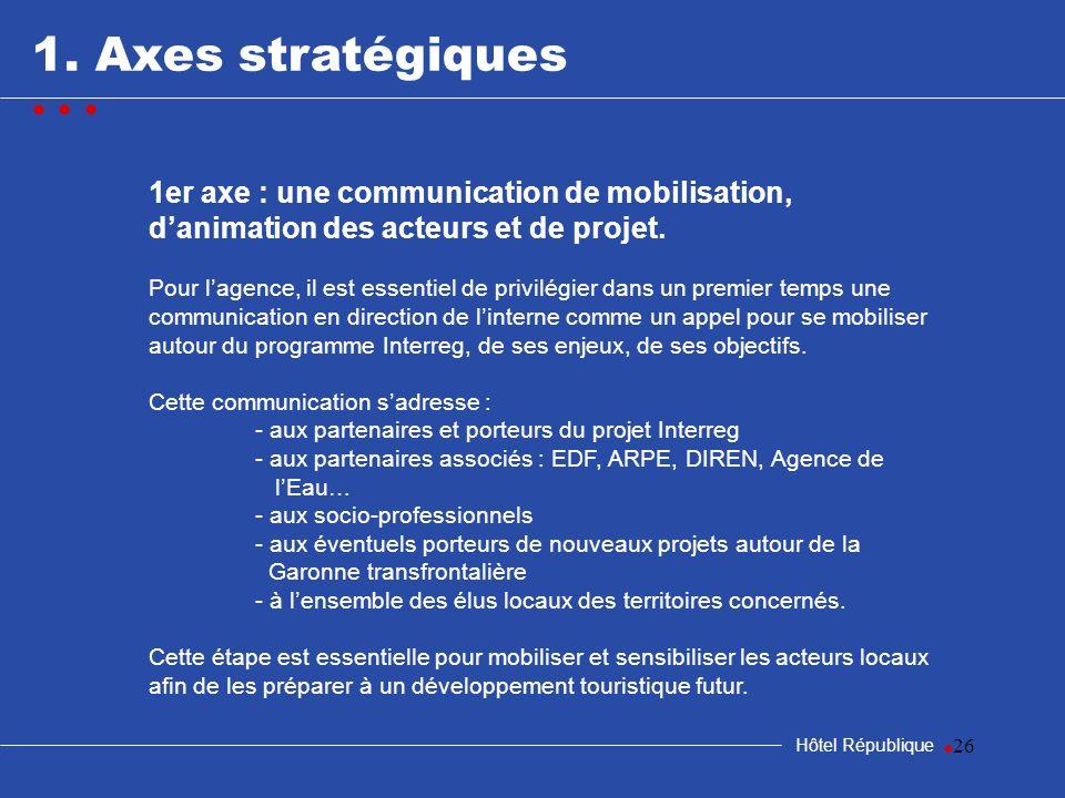 26 1. Axes stratégiques Hôtel République 1er axe : une communication de mobilisation, danimation des acteurs et de projet. Pour lagence, il est essent