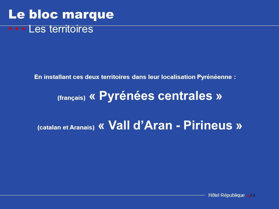 34 Le bloc marque Les territoires Hôtel République En installant ces deux territoires dans leur localisation Pyrénéenne : (français) « Pyrénées centra