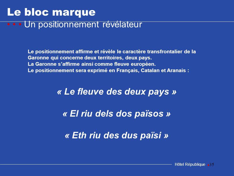 35 Le bloc marque Un positionnement révélateur Hôtel République Le positionnement affirme et révèle le caractère transfrontalier de la Garonne qui con