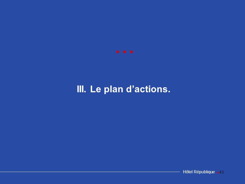 41 III. Le plan dactions. Hôtel République