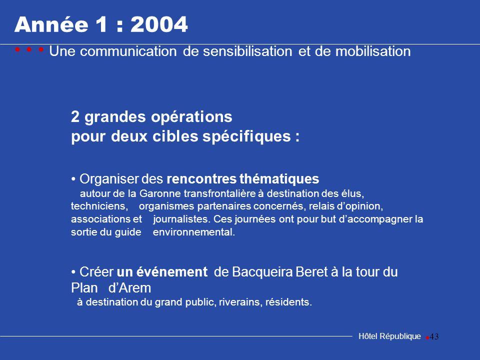 43 Année 1 : 2004 Une communication de sensibilisation et de mobilisation Hôtel République 2 grandes opérations pour deux cibles spécifiques : Organis